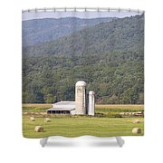 Hay Farm In The Country Shower Curtain by Danielle Allard