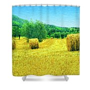 Hay Harvest In Tuscany Shower Curtain
