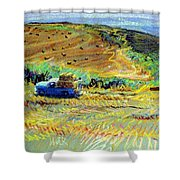 Hay Harvest On The Coast Shower Curtain