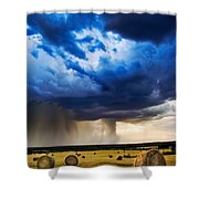 Hay In The Storm Shower Curtain