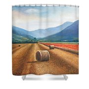 Haybales In Italy Shower Curtain by Ann  Cockerill