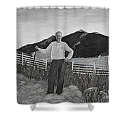 Haymaker With Pitchfork B W Shower Curtain