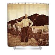 Haymaker With Pitchfork Vintage Shower Curtain