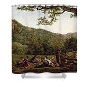 Haymakers Picnicking In A Field Shower Curtain by Jean Louis De Marne