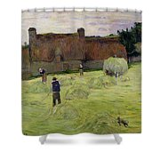 Haymaking In Brittany Shower Curtain