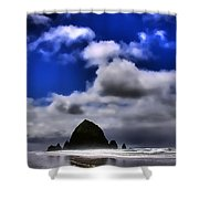 Haystack Rock Monolith Shower Curtain