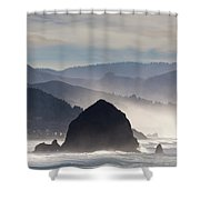 Haystack Rock On The Oregon Coast In Cannon Beach Shower Curtain