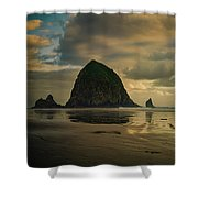 Haystack Sunset Panorama Shower Curtain
