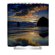 Haystack Sunset Shower Curtain