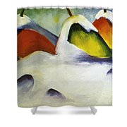 Haystacks In The Snow 1911 Shower Curtain