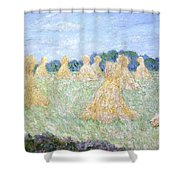 Haystacks The Young Ladies Of Giverny Sun Effect Shower Curtain