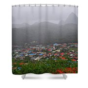 Hazy Pitons Shower Curtain