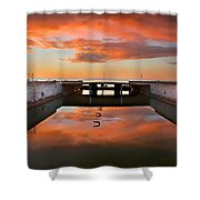 Hdr Sunset Over Harbor And Graffiti Shower Curtain