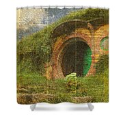 he Bag End Hobbit House Lord of the Rings Shire Illustration Dictionary Art Shower Curtain