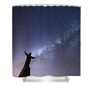 He Held The Stars In The Palm Of His Hand Shower Curtain