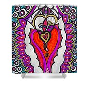 He She Heart Shower Curtain
