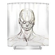 Head, Front Drawing. Shower Curtain