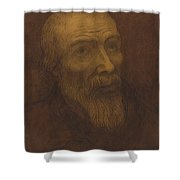 Head Of A Bald Man With A Beard Shower Curtain