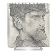 Head Of A Man With A Hat Shower Curtain