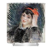 Head Of A Young Woman - 1878 -1880 Pierre-auguste Renoir Shower Curtain