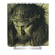 Head Of Christ Shower Curtain by Franz Von Stuck