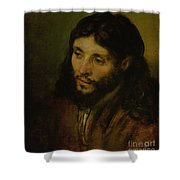 Head Of Christ Shower Curtain by Rembrandt