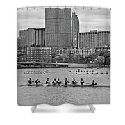 Head Of The Charles. Charles Rowers Black And White Shower Curtain