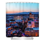 Heading North On The Strip Shower Curtain