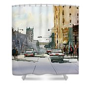 Heading West On College Avenue - Appleton Shower Curtain by Ryan Radke