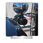 Headlamp And Flags Shower Curtain
