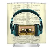 Blue Headphone And Yellow Cassette Collage Print Shower Curtain