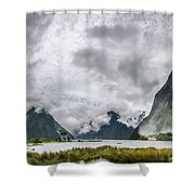 Heads In The Clouds Panorama At Milford Sound Shower Curtain