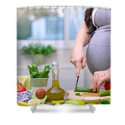 Healthy Nutrition For Pregnant Woman Shower Curtain
