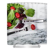 Healthy Organic Salad Flowing Out Of Plate On Natural Marble Tab Shower Curtain