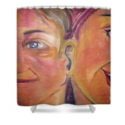 Hearing The Same Stories Shower Curtain