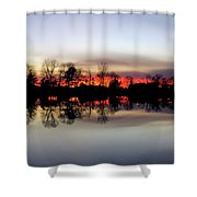 Hearns Pond Silhouette Shower Curtain
