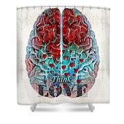 Heart Art - Think Love - By Sharon Cummings Shower Curtain