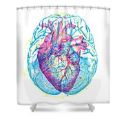 Heart Brain Shower Curtain