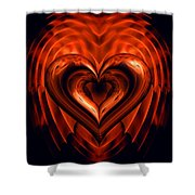 Heart In Flames Shower Curtain