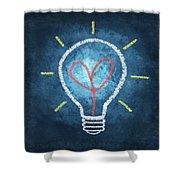 Heart In Light Bulb Shower Curtain