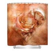 Heart Of A Rose - Gold Bronze Shower Curtain
