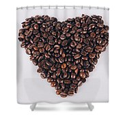 Heart Of Coffee Beans Shower Curtain