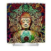 Heart Of Transcendence - Colorful Tribal Buddha Shower Curtain by Christopher Beikmann