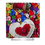 Heart Pushpin Chusion  Shower Curtain