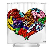 Heart Ribbons Shower Curtain
