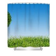 Heart Shape Tree On Green Grass Field Shower Curtain