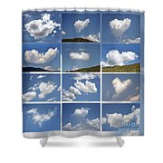 Heart Shaped Clouds - Collage Shower Curtain