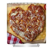 Heart Shaped Pizza Shower Curtain
