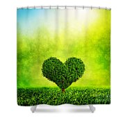Heart Shaped Tree Growing On Green Grass Shower Curtain