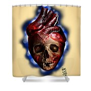 Heart Skull Shower Curtain